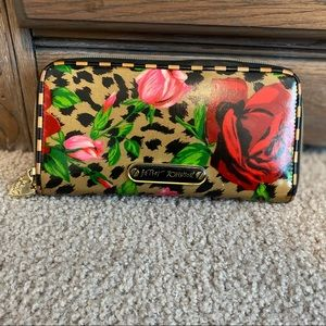Betsey Johnson animal print and floral wallet